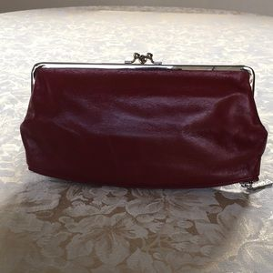 Red leather Hobo clutch